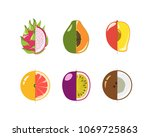 vector set of delicious fruits. ...   Shutterstock .eps vector #1069725863