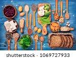 vegan protein sources. top view ... | Shutterstock . vector #1069727933