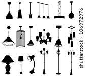 Sets of silhouette lamps, create by vector - stock vector