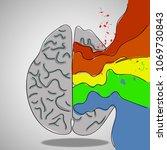 human brain with creative splash   Shutterstock .eps vector #1069730843