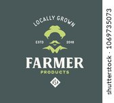 farmer products emblem label... | Shutterstock .eps vector #1069735073