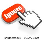 Oval red button Ignore and hand cursor - stock photo