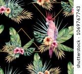 watercolor tropical seamless... | Shutterstock . vector #1069767743