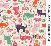Funny cartoon cats. Seamless pattern - stock vector