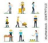farmers work 3d icons set...   Shutterstock .eps vector #1069797113