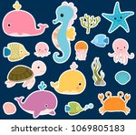 cute vector sea animals... | Shutterstock .eps vector #1069805183