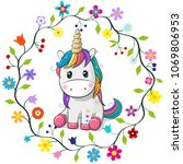 Cute Cartoon Unicorn In A...
