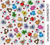 toys pattern. teddy bears ... | Shutterstock .eps vector #1069808747