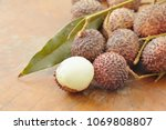 lychee tropical fruit peel out... | Shutterstock . vector #1069808807