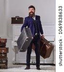 man  traveller with beard and... | Shutterstock . vector #1069838633