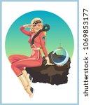 vector space pin up astronaut... | Shutterstock .eps vector #1069853177
