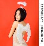 girl in bodysuits looks slim ... | Shutterstock . vector #1069853813