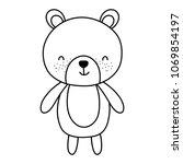 line cute bear teddy animal toy   Shutterstock .eps vector #1069854197