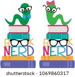 vector book worm book nerd...   Shutterstock .eps vector #1069860317