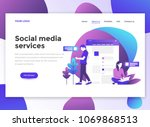 landing page template of social ... | Shutterstock .eps vector #1069868513
