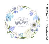 vector botanical wreath with... | Shutterstock .eps vector #1069878077