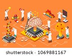 brain with chip  artificial... | Shutterstock . vector #1069881167