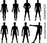Full length front, back silhouette of man | Shutterstock vector #106989923