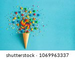 ice cream waffle cone with... | Shutterstock . vector #1069963337