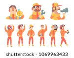 racing team members in orange... | Shutterstock .eps vector #1069963433