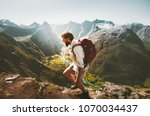 man with backpack skyrunning in ... | Shutterstock . vector #1070034437
