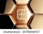 golden plus in square icon in... | Shutterstock . vector #1070046917