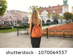 woman in a grey dress and... | Shutterstock . vector #1070064557