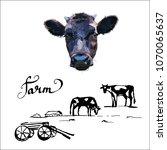 cow calf brown  vector | Shutterstock .eps vector #1070065637