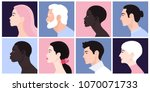 a set of people's faces in... | Shutterstock .eps vector #1070071733