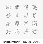 animal icon set and snake with...