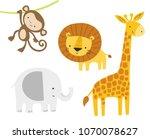 cute jungle animals set. vector ... | Shutterstock .eps vector #1070078627