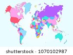 color world map vector | Shutterstock .eps vector #1070102987