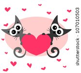 card with two kittens in love | Shutterstock .eps vector #107010503