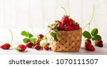 fresh strawberry with leaves... | Shutterstock . vector #1070111507