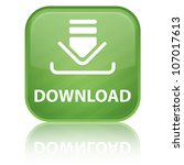 download icon on glossy green... | Shutterstock . vector #107017613