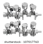 v8 engine pistons on a... | Shutterstock . vector #107017763