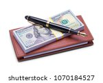 Small photo of Leather Checkbook with Money and Pen Isolated on White Background.