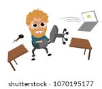 blond angry man | Shutterstock .eps vector #1070195177
