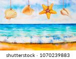 watercolor seascape painting... | Shutterstock . vector #1070239883