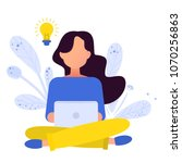 girl sitting on the floor and... | Shutterstock .eps vector #1070256863