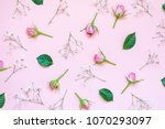 top view of pink roses and... | Shutterstock . vector #1070293097