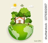 green eco city living concept... | Shutterstock .eps vector #1070302007