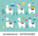 llama collection  cute hand... | Shutterstock .eps vector #1070310683