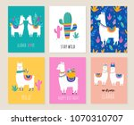Stock vector llama and alpaca collection of cute hand drawn illustrations cards and design for nursery design 1070310707