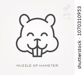 line icon muzzle of hamster | Shutterstock .eps vector #1070310953