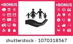 hand holding a symbol of family.... | Shutterstock .eps vector #1070318567