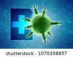 3d rendering viruses in... | Shutterstock . vector #1070358857