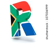 Three dimensional render of the South African rand symbol - stock photo