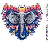illustration of an elephant in...   Shutterstock .eps vector #1070373737