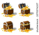 set old pirate chests full of...   Shutterstock .eps vector #1070376107